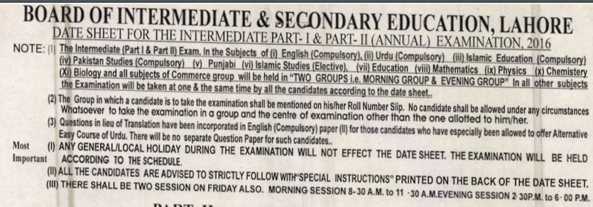 BISE Lahore Board Inter Date Sheet 2016
