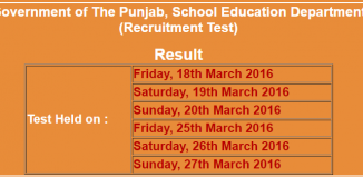 Result Of Punjab Government Recruitment Test For School Education Department Announced