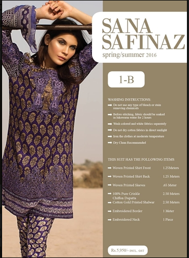 Sana Safinaz Lawn Summer Collection 2016