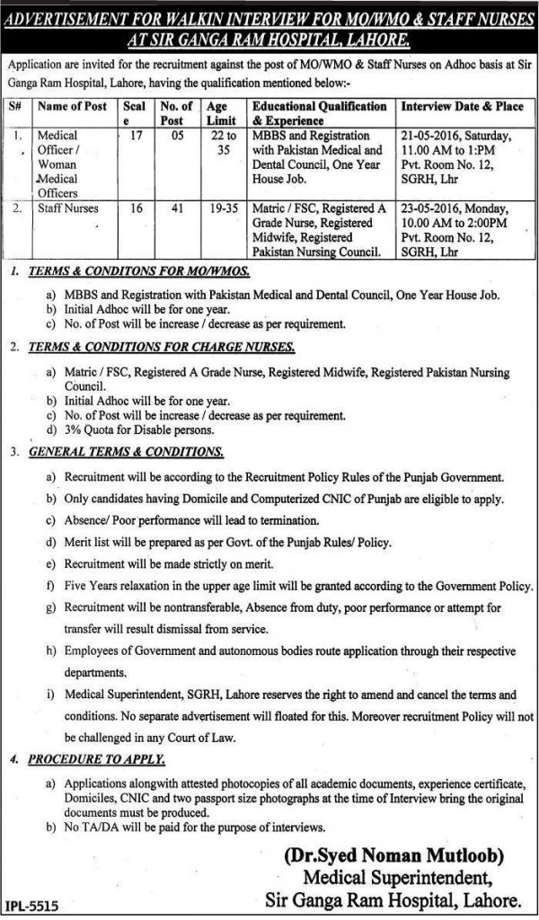 Ganga Ram Hospital Lahore Job opportunity for Medical Staff 11 May 2016