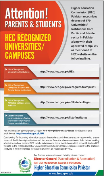 List Of HEC Recognized Campuses Of Public And Private Sector Institutions