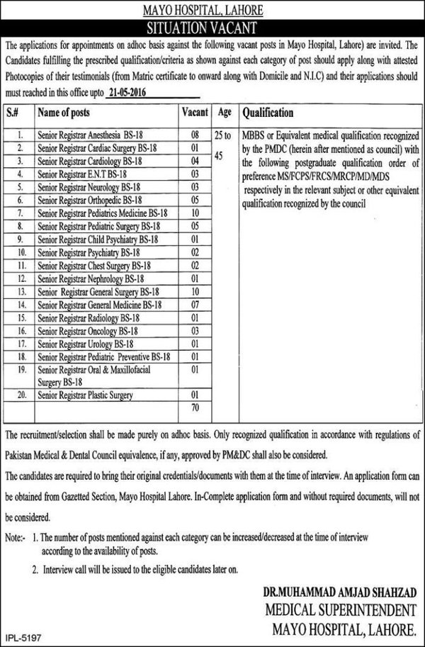 Mayo Hospital Lahore Jobs Last Date To Apply Is 21 May 2016 BS 18