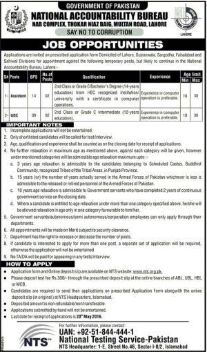 National Accountability Bureau NAB Lahore Jobs 2016