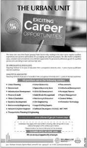Urban Unit Jobs 2016 For Urban Planning Enviornment Finance and Audit and More