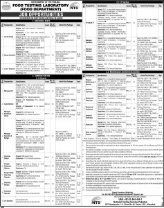 Food Testing Laboratory Food Department NTS Test Based Job Opportunities In Lahore
