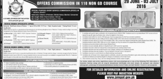 Join Pakistan Air Force Through Commission Course Last Date 3 July 2016