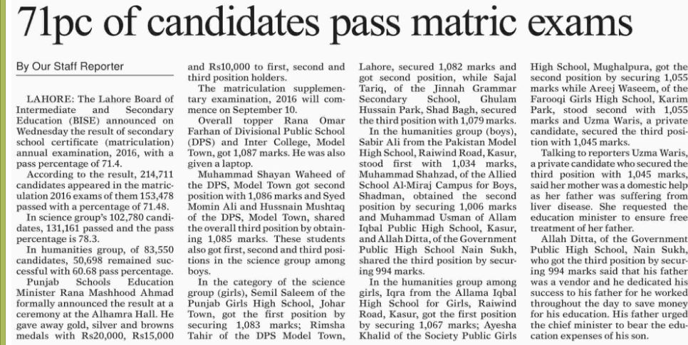 BISE Lahore Board Matric Top Position Holders 2016 Highest Marks in 10th Class