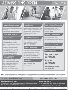 Allied Health Sciences Admission University of Lahore 2016