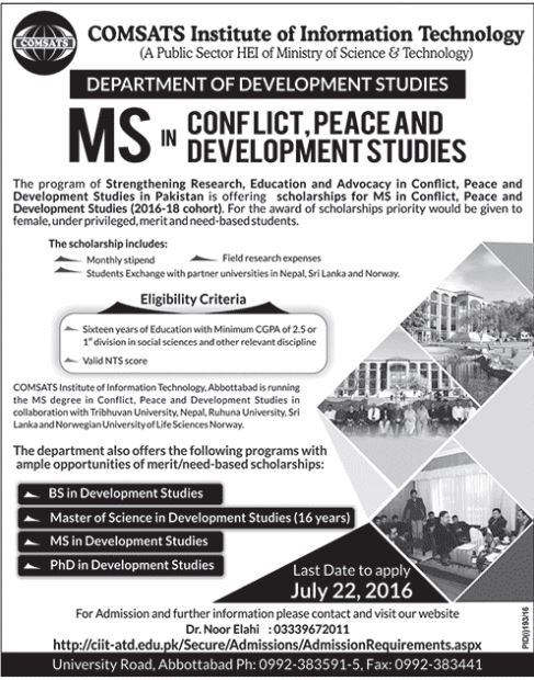 COMSATS Abbottabad MS In Conflict Peace And Development Studies Eligibility Criteria For Admission