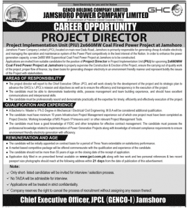 Coal Fired Power Project Jamshoro Career opportunity Project Director