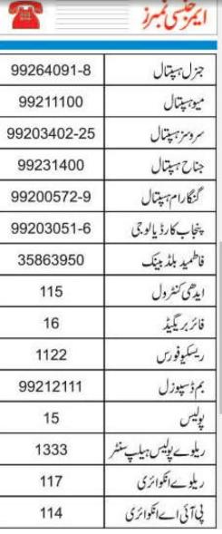 Emergency Numbers Lahore