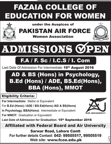 Fazaia College For Education For Women Admission 2016