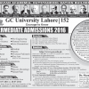 GC University Lahore Intermediate Admissions Pre-Medical Pre-Engineering Others
