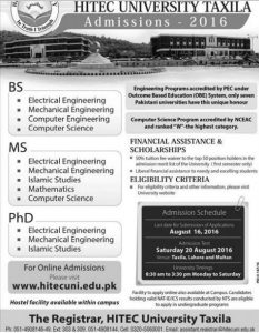 HITEC University Taxila PEC Accredited Admission 2016