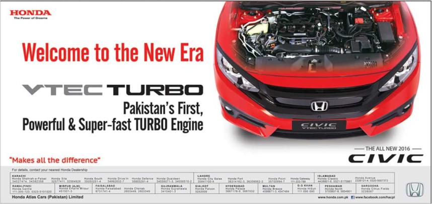 Honda Civic 2016 Pakistan I VTEC Turbo Oriel