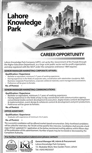 Lahore Knowledge Park Jobs Manager Marketing Communication