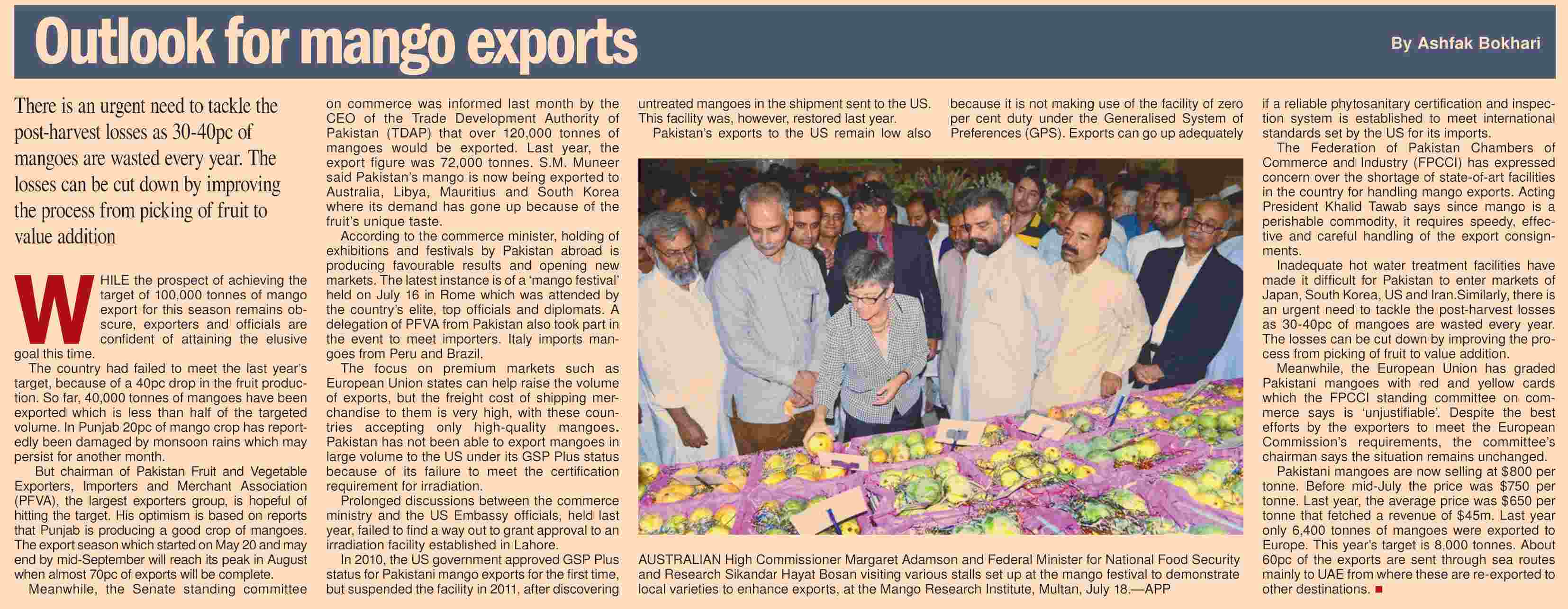 Mango Production Exports From Pakistan Post Harvest Losses