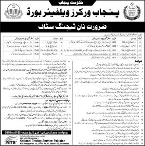 Punjab Workers Welfare Board Jobs 2016 Non Teaching Staff