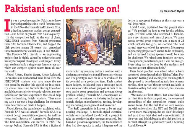 Story Of Pakistani Students In Formula SAE Lincoln 2016