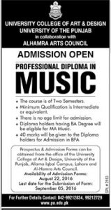 Professional Diploma In Music By PU University College of Art And Design