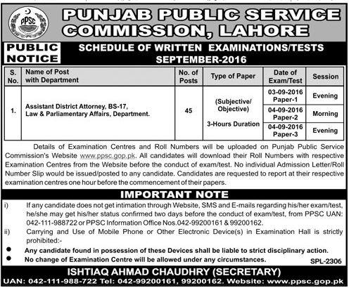 Public Service Commission Lahore Assistant District Attorney post