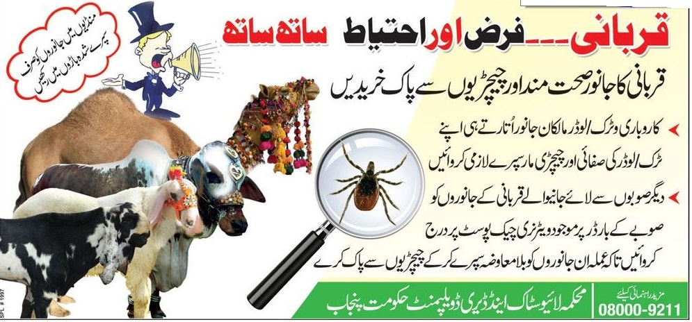 Sacrifice of animals on Eid ul Azha