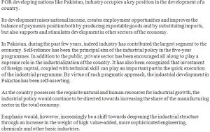 The Role of Industrialization in Development In Pakistan