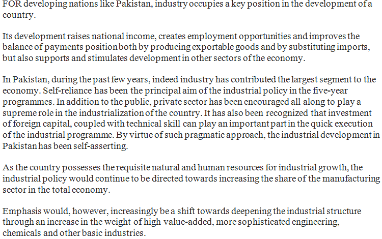 The Role of Industrialization in Development In Pakistan