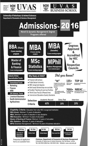 UVAS Lahore BBA MBA MSc Statistics