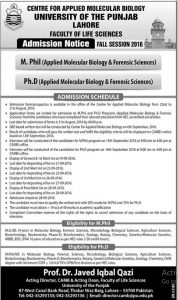 University of The Punjab Lahore MPhil Phd In Applied Molecular