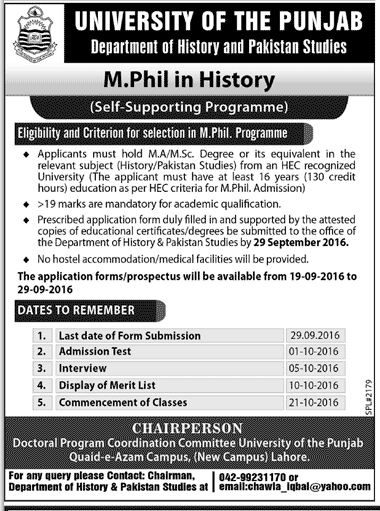 University of The Punjab Mphil In Dept of History Admission 2016