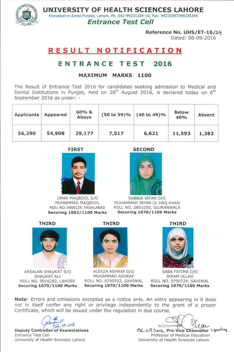 UHS Lahore Entry Test 2016 Answer Key White, Blue, Pink Green