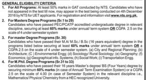 eligibility-criteria-for-uet-lahore-post-graduate-admission-2016
