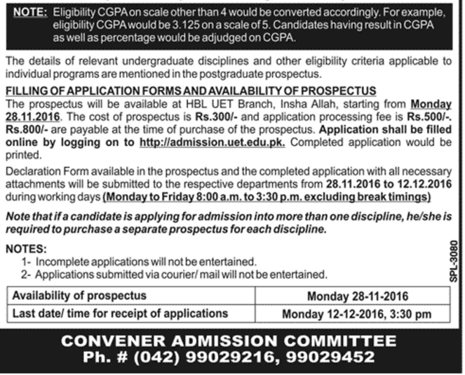 eligibility-criteria-for-uet-lahore-post-graduate-admission-2016