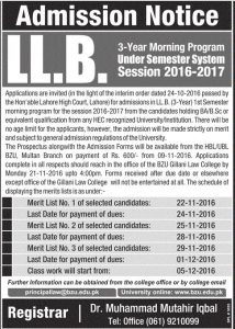 llb-3-years-morning-program-bzu-multan-admission-notice-2017-2016