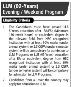 LLM 2 Years Evening Weekend Program Eligibility Criteria Scope In Pakistan