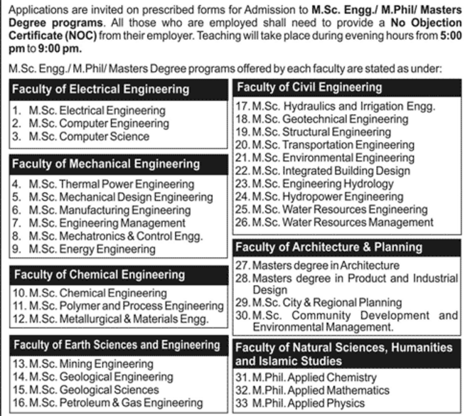 list-of-post-graduate-degree-engineering-offered-by-uet-lahore-2016