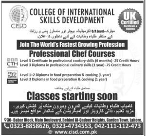 Professional Chef Courses In Lahore Cooking Institutes Listed