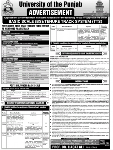 PU Basic Scale BS Tenure Track Jobs 2017