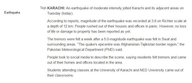 3.6 magnitude earthquake jolts Karachi 17 January 2017