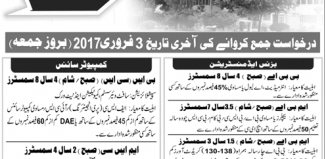 Federal Urdu University FUUAST Islamabad Admissions 2017 Advertisement