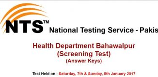 Health Department Bahawalpur Screening Test Result And Answer Keys in 2017