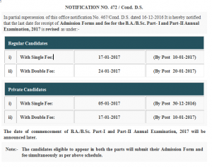 BA BSc Registration Part 1 and 2 In 2017 Punjab University Lahore Form For Annual Exams