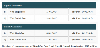 Revised Admission Forms and fee for the B.A. and B.Sc. Part I and II Annual Examination 2017
