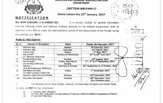 Notification of Punjab Govt Holidays 2017 Latest News About Vacation