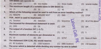 Computer Science Model Paper Of 10th Class Objective