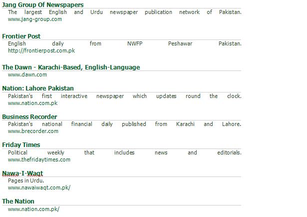 Newspapers In Pakistan List Print Media Of Pakistan