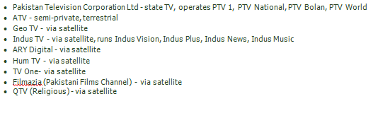 TV Channels of Pakistan