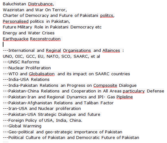 Pakistan National Issue Sample Questions Topics