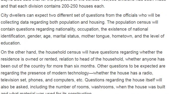 Pakistan Population, Housing Census Questions 2017 Form Template